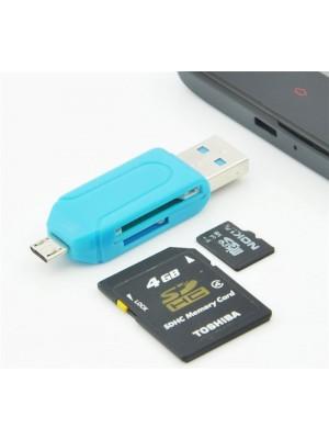 מתאם OTG + קורא כרטיסי זיכרון +  מתאם USB ל Micro USB